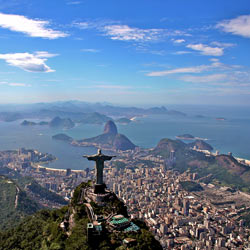 Panoramic view including the Christ the Redeemer statue in Rio de Janeiro, Brazil – a great destination for business students to gain personal insight into globalization after hosting variety of international events this decade.