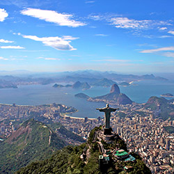Panoramic view of Christ the Redeemer in Rio de Janeiro, Brazil