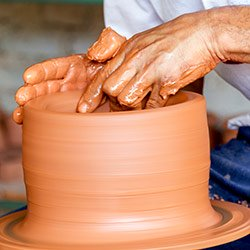 Traditional pottery being made in Comeguey, Cuba