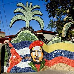 Hugo Chavez mosaic in Jaimanitas, Havana, Cuba