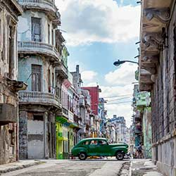 Photograph of an old fashioned car on the streets of Havana Cuba
