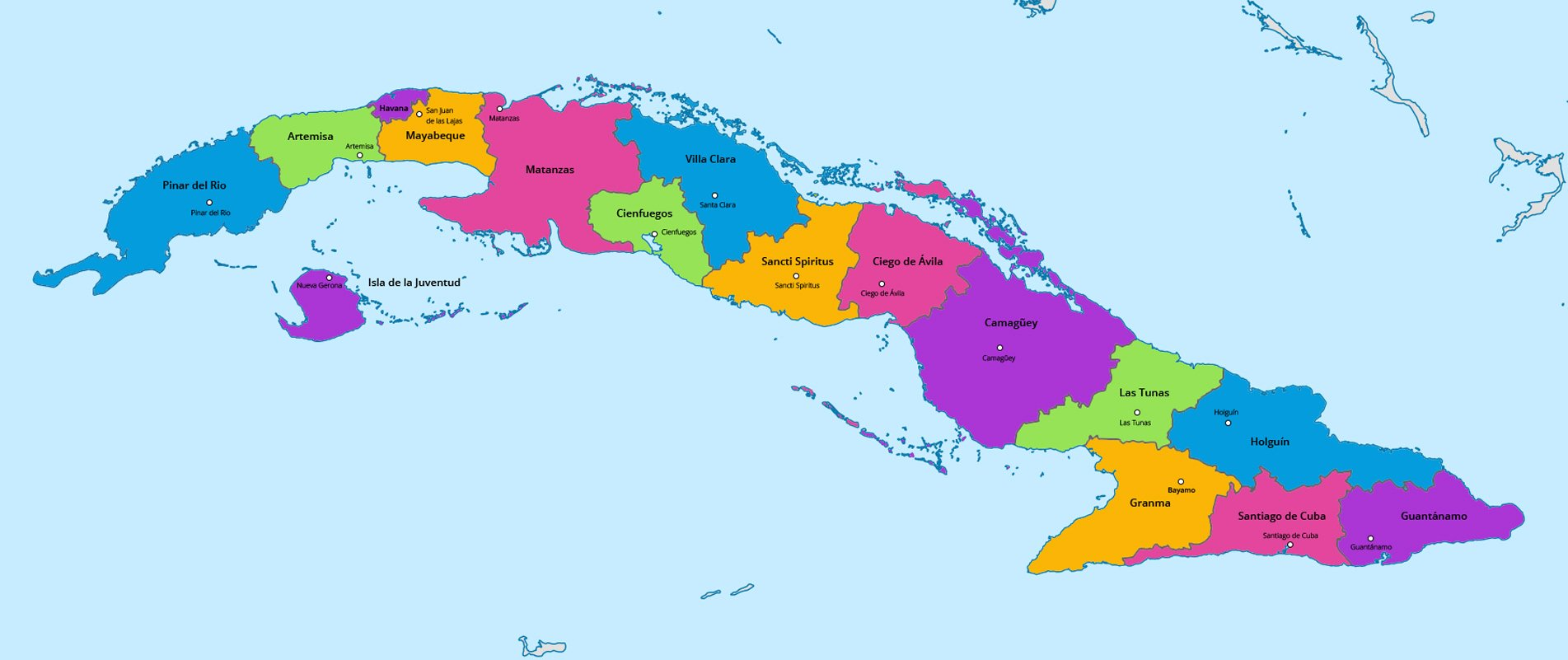 Map of the provinces in Cuba