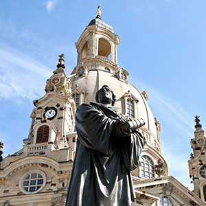 View of the statue of Martin Luther in Dresden, Germany.