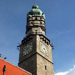 View of the Innsbruck Clocktower in Vienna, Austria.