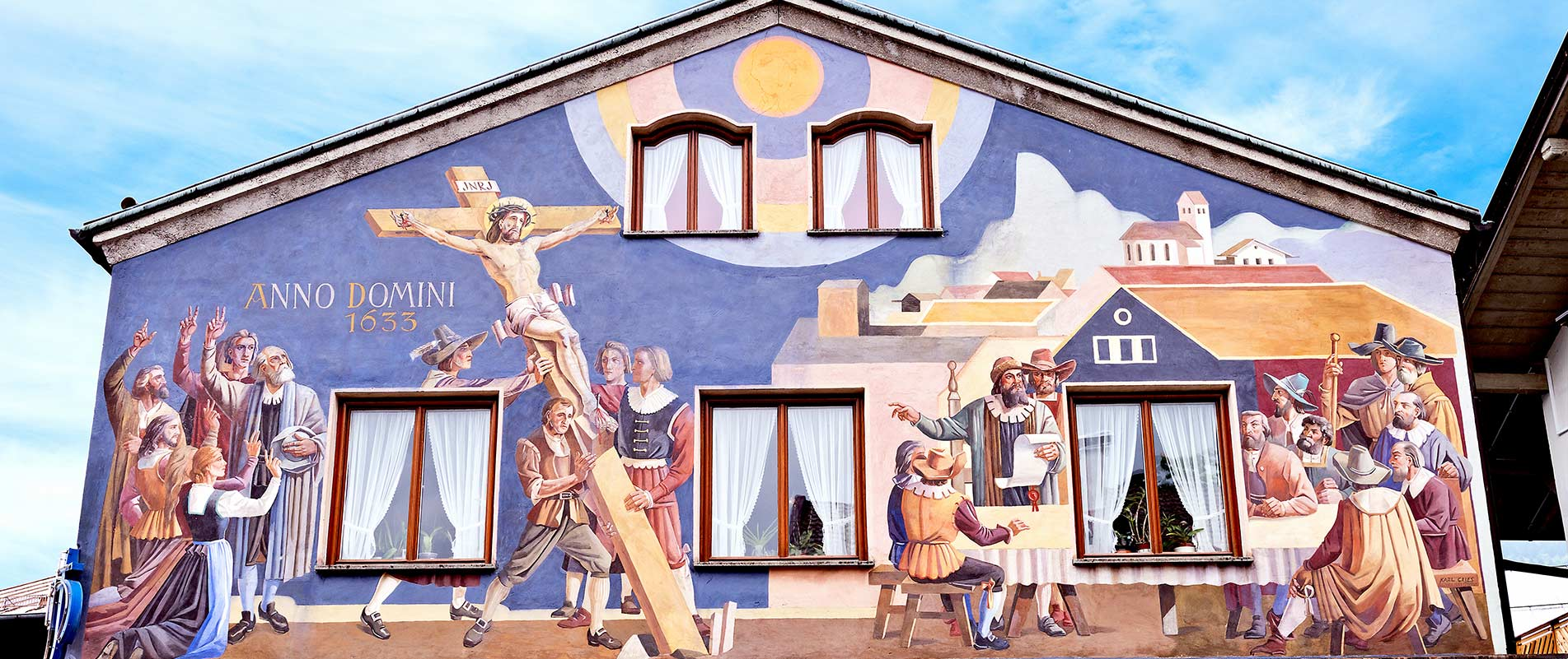 Mural of the Passion Play on the side of building in Oberammergau, Germany.