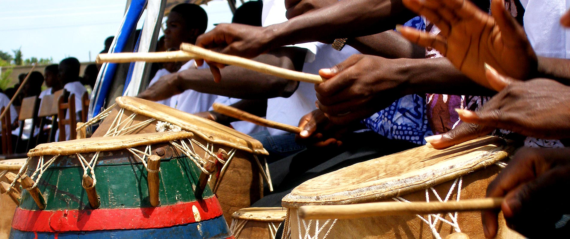 African drumming during Panafest in Accra, Ghana.