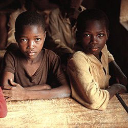 Kids at their school desk in Kenya