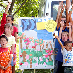 Romanian children exhibiting artwork during vacation bible school