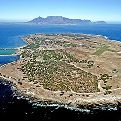 Aerial view of Robben Island in Cape Town, South Africa
