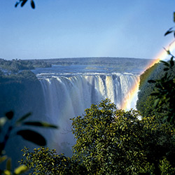 Rainbow over Victoria Falls in Zimbabwe