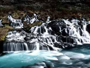 Iceland Borgarfjordur Hraunfossar waterfalls