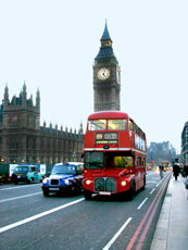 London, England - Red Tour Bus with Big Ben