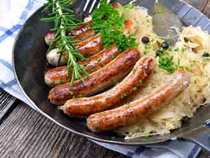 Germany bratwurst on sauerkraut
